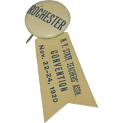 1920's Pin back Lapel Button Badge with Ribbon Rochester NY State Teacher's Convention