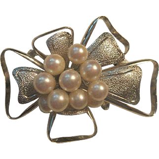 Striking Vintage Sterling Silver and Pearl Bow Style Brooch Slide