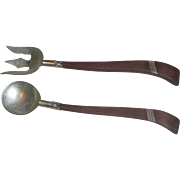 Vintage Mid Century Taxco Sterling Silver Rosewood Handle Serving Fork & Spoon Salad Set