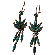 Vintage sterling silver Zuni Needlepoint Turquoise Dangle  Earrings
