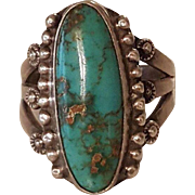 Early Fred Harvey Era Native American Navajo Turquoise Bead Ring