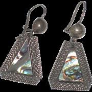 Vintage Taxco Sterling Silver Abalone Shell Dangle Earrings signed JGC