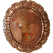 Beautiful Large Vintage Boulder Opal Sterling Silver Ring size 7 1/4