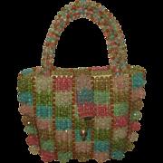 Vintage Mid Century Multi Color Beaded Purse Handbag by Walborg Italy