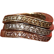 18k Gold One Carat Diamond Band Trio Set in Rose Gold, White Gold and Yellow Gold size 6.5