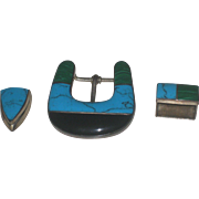 Massive Vintage  950 Silver Taxco Inlaid Turquoise, Malachite and Onyx Western Belt Buckle Set 3 pc.