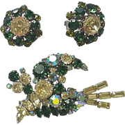 Sparkling Vintage Brooch and Earrings set Shades of Green and AB Rhinestones Austria