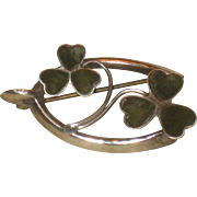 Vintage Sterling Silver Lucky Shamrock Clover Wishbone Pin Brooch England