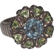 Vintage Sterling Silver lower Ring Blue Topaz & Peridot  size 7.25