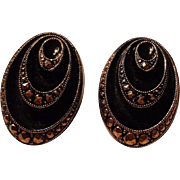 Vintage Art Deco Black and Gold Tone Clip Earrings Western Germany
