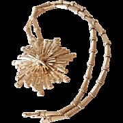 Huge Monet Gold Tone Starburst & Starfish Pin/Pendant Necklace
