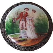 Vintage Porcelain & Enamel Romantic Couple Scene Filigree Pin Brooch