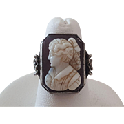 Antique Hardstone Carnelian Lady Cameo Sterling Silver Ring