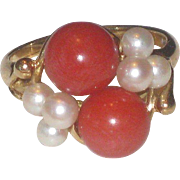 Vintage 14k Yellow Gold Salmon Coral & Pearl Ring size 7.25