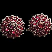 Vintage Bohemian Garnet Screw Back Earrings Sterling Silver & Gold Vermeil