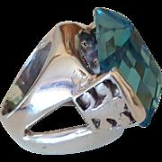 Huge! Vintage Taxco Mexico Maria Elena Munoz Sterling Silver Blue Crystal Ring