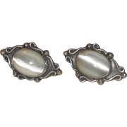 Vintage Mexican Sterling Silver White Moonstone Pierced Earrings Mexico
