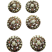 Set of 6 Antique French Champleve Enamel and Gilt Buttons