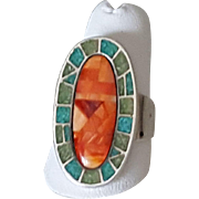 Retired Sterling Silver Relios Carolyn Pollack Southwestern Spiny Oyster Inlaid Ring