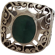 Vintage signed Jade and Sterling Pierced Openwork Statement Ring