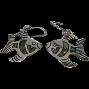 Vintage Sterling Silver Taxco Angelfish Abalone Earrings