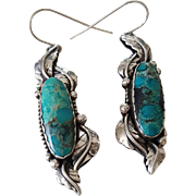 Beautiful Navajo Sterling Silver and Turquoise Pierced Earrings ATM