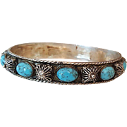 Gorgeous Tribal Sterling Silver Bangle Bracelet with Turquoise Cabochon Stones