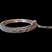 Vintage Sterling Silver Openwork Design Hinged Bangle Bracelet with Marcasites