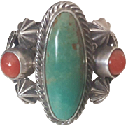 Vintage Native American Sand Cast Ring, Turquoise & Coral signed T Yazzie
