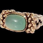 Beautiful Vintage Designer Dian Malouf Chrysoprase 14k Gold and Sterling Ring