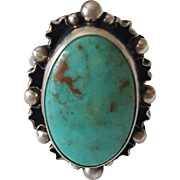 Stunning Sterling Silver and Turquoise Ring signed DTR Jay King Mine Finds