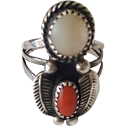 Early Vintage Jully Sam signed Native American Sterling Silver, Mother of Pearl & Salmon Coral Ring
