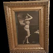 Antique Framed Photograph of La Belle Otero Spanish Burlesque Dancer, Courtesan, Actress