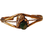 Pretty Gold Over Silver & Green Turquoise signed Cuff Bracelet