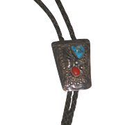 Vintage Native American Coral, Turquoise & Sterling Bolo signed B Begay
