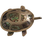 Charming Vintage Silver & Abalone Turtle or Tortoise Hinged Box Taxco