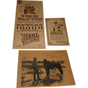 "Vintage Old City Jail "" Wild West"" Tuscon Restaurant Menu Autographed Sheriff Clive Tunney"