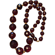 Vintage Cherry Amber Graduated Bead Necklace Choker with Barrel Clasp