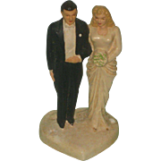 Glamorous Vintage 1940's or 50's Wedding Cake Bride & Groom Topper
