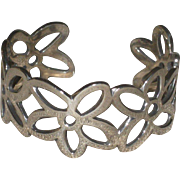 James Avery Retired Sterling Silver Openwork Flower Cuff Bracelet