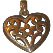 James Avery Sterling Silver Heart With Flower Pendant with box