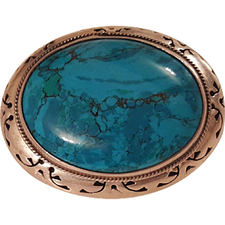 Large Taxco Mexico Turquoise & Sterling Silver Brooch Pendant Ornate Frame