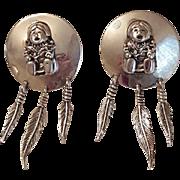 Vintage Designer Carol Felley Native American Sterling Silver Storyteller Earrings