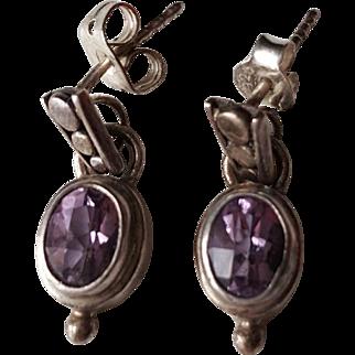 Vintage Sterling Silver Faceted  Amethyst Dangle Earrings