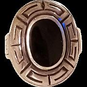 Gorgeous Chunky  Sterling Silver Onyx Greek Key Design Ring size 9