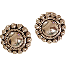 Vintage signed Airess Sterling Silver Ball Bead Earrings