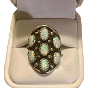 Vintage Sterling Silver & Fire Opals Native American Saddle  Ring