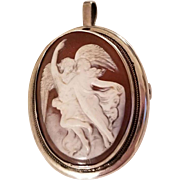 Antique Pendant Brooch Carved Hardstone Cameo of Woman and Cupid Psyche