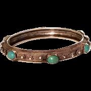 Vintage Sterling Silver & Persian Turquoise Hinged Bangle Bracelet
