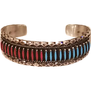 Vintage Sterling Silver Zuni Needlepoint Turquoise and Coral Cuff Bracelet